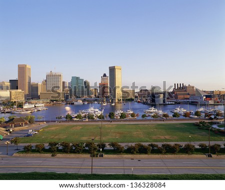 Baltimore harbor and skyline, MD - stock photo