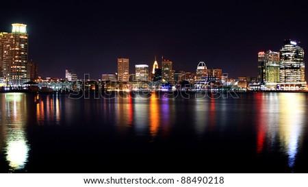 Baltimore Inner Harbor Cityscape night shot - stock photo