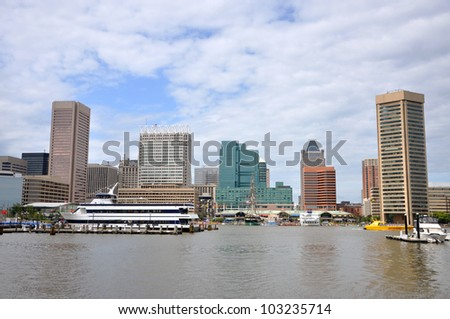 Baltimore Inner Harbor skyline, Baltimore, Maryland, USA