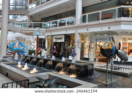BALTIMORE, MARYLAND - SEP 1: The interior of The Gallery at Harborplace in Baltimore, Maryland, as seen on Sep 1, 2014. The Gallery is a four story shopping mall at the Inner Harbor in Baltimore. - stock photo