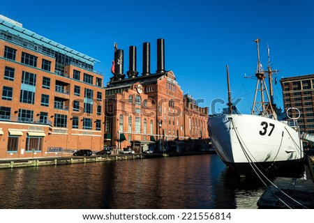 BALTIMORE, MARYLAND-SEPTEMBER 27-The USCGC Taney in the Inner Harbor on September 27 2014 in Baltimore Maryland.The Coast Guard Cutter Taney was the last ship floating after the Pearl Harbor Attack.  - stock photo
