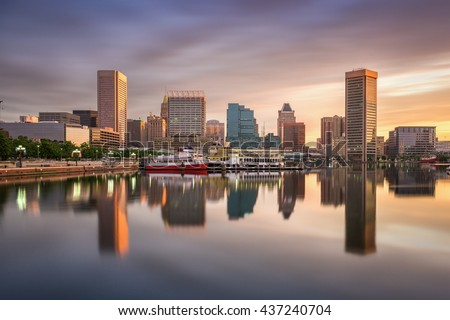 Baltimore, Maryland, USA skyline at the Inner Harbor. - stock photo