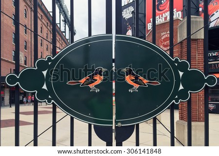 BALTIMORE, MD-AUGUST, 2015:  Entrance to the Baltimore Orioles stadium at Camden Yards. - stock photo