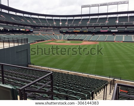 BALTIMORE, MD-AUGUST, 2015:  View of the Baltimore Orioles stadium at Camden yards from right field.