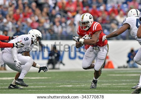 BALTIMORE - OCTOBER 24: Maryland Terrapins running back Brandon Ross (45) carries the ball during the NCAA football game against Penn State October 24, 2015 in Baltimore.