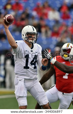 BALTIMORE - OCTOBER 24: Penn State Nittany Lions quarterback Christian Hackenberg (14) throws a pass under pressure during the NCAA football game against Maryland October 24, 2015 in Baltimore.