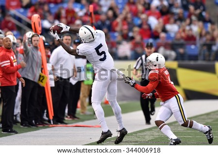 BALTIMORE - OCTOBER 24: Penn State Nittany Lions wide receiver DaeSean Hamilton (5) tries to catch a pass on the sideline during the NCAA football game against Maryland October 24, 2015 in Baltimore.  - stock photo