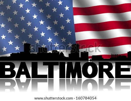 Baltimore skyline and text reflected with rippled American flag illustration