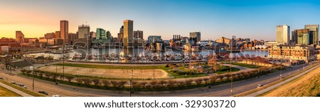 Baltimore skyline panorama at sunset, as viewed from Federal Hill - stock photo