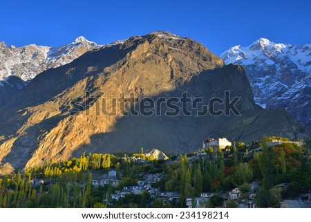 Baltit Fort. beautiful Landscape of Hunza Valley in Autumn season. Northern Area of Pakistan. - stock photo