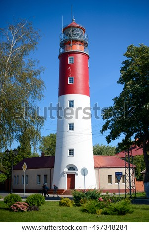 BALTIYSK, RUSSIA - SEPTEMBER 1, 2016: Lighthouse on the shore of the Baltiysk, formerly Pillau. Height of 33.2 meters above sea level