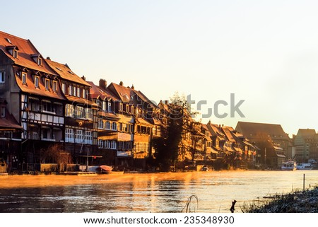 Bamberg Cityscape in Winter. Sunny Morning on a cold day. Picturesque old architecture - stock photo