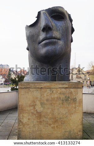 BAMBERG, GERMANY - DECEMBER 05, 2015: Centurione I, bronze statue by Polish born sculptor Igor Mitoraj in Bamberg, Germany  - stock photo