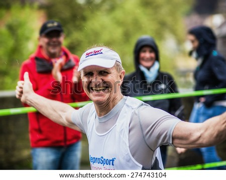 BAMBERG, GERMANY - MAY 03 2015: Weltkulturerbelauf, traditional long distance race event in the world culture heritage City of Bamberg in Franconia, Germany in May 2015