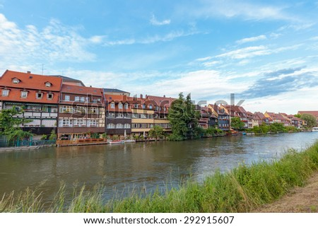 Bamberg Little Venice District in Summer. Lovely historical houses at the rhiver Regnitz with blue. Hot summer evening