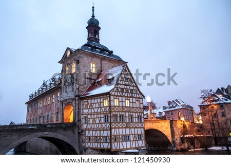 Bamberg Old city Hall in Winter with Bridge - stock photo