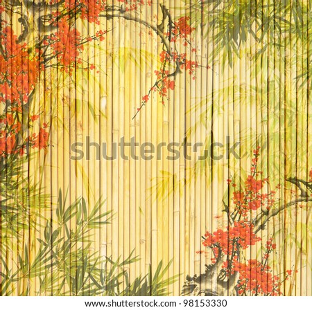 bamboo and plum blossom - stock photo