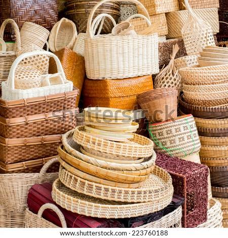 bamboo basket  - stock photo