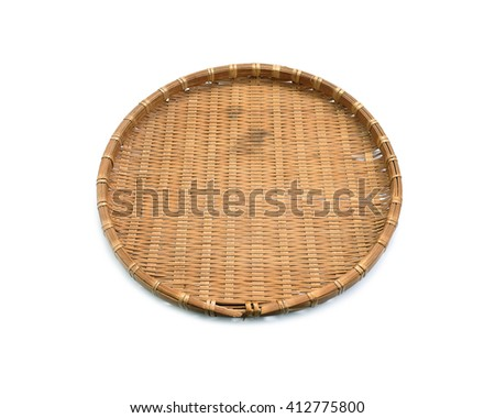 Bamboo basket hand made isolated on white background. Woven from bamboo tray. - stock photo