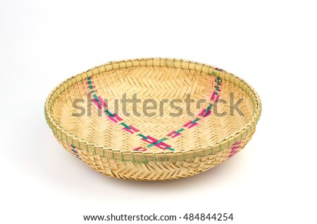 Bamboo basket handmade on white background