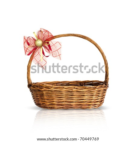 Bamboo basket isolated on white background Decorated with red ribbons and golden on top. - stock photo