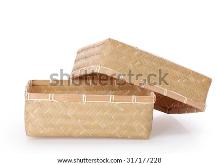 Bamboo box hand made  isolated on white background. This has clipping path. - stock photo