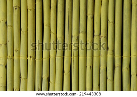 Bamboo branches decorative fence abstract wood background.