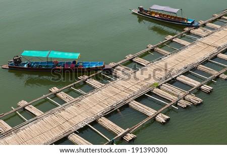 Bamboo Bridge in Sangklaburi,Kanchan buri province, Thailand. - stock photo
