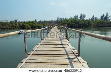 bamboo bridge over the river