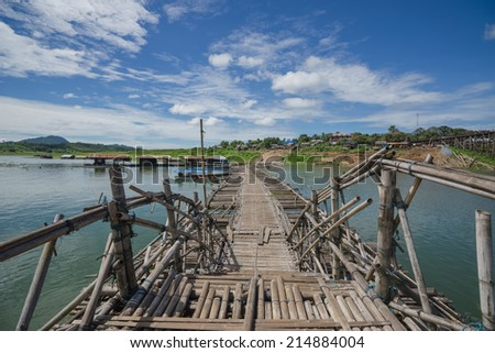 Bamboo bridge, which began to decay - stock photo