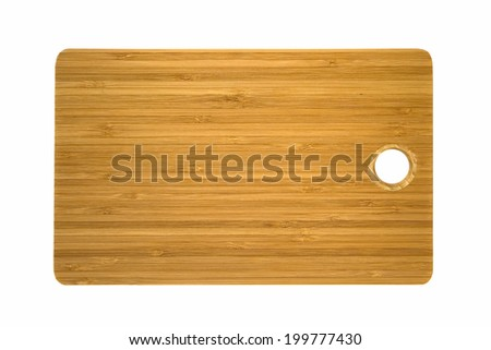 Bamboo brown cutting board isolated on white background - stock photo