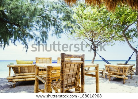 Bamboo Cafe on a Tropical Sand Beach Ocean View - stock photo