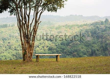 Bamboo chair on the hill - stock photo
