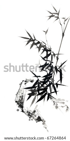 Bamboo - Chinese ink and wash painting. - stock photo