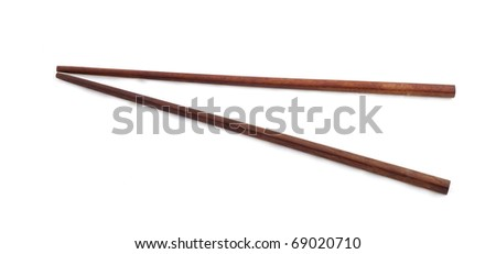 Bamboo chopsticks isolated on the white background - stock photo