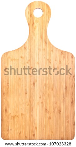 Bamboo cutting board isolated on white background with clipping paths - stock photo