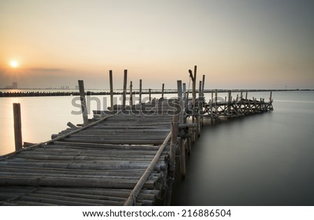 bamboo dock - long exposure - stock photo