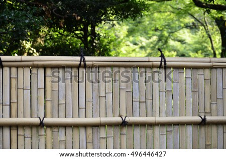 Bamboo fence of the Japanese garden