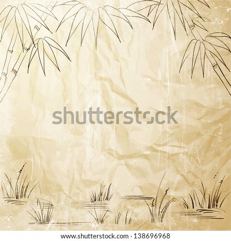 Bamboo frame for your text.  illustration. - stock photo