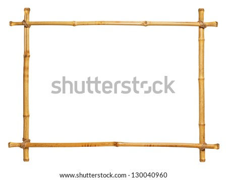 bamboo frame isolated on white background - stock photo