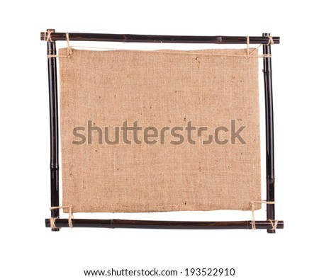 Bamboo frame with canvas. Isolated on a white background. - stock photo