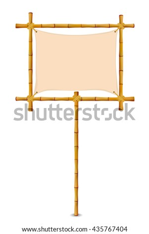 Bamboo Frame with Cloth Sign. Isolated on white. Art illustration banner