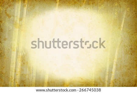 Bamboo frame with copyspace for text on grunge paper texture. Chinese old background with bamboo. Ancient paper with grange texture and tropical border for east concept in retro style. - stock photo