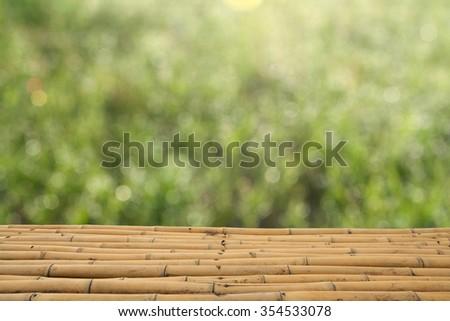 Bamboo green bokeh background - stock photo