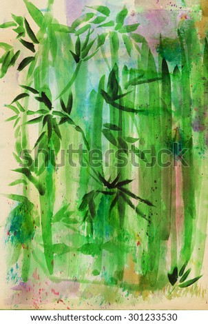 Bamboo grove, drawing in a traditional Asian style - stock photo
