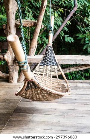 Bamboo hammock in Thai country, Thailand. - stock photo