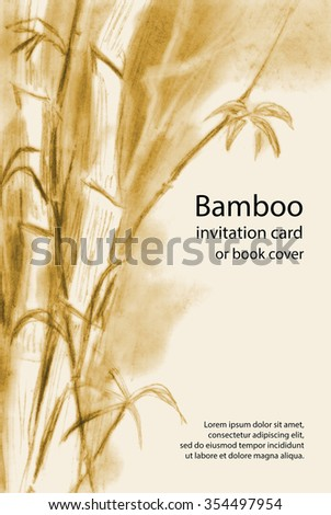 Bamboo hand drawn invitation card or book cover. Red chalk (sanguine) stems, trunks and leaves on ecru background. Raster.