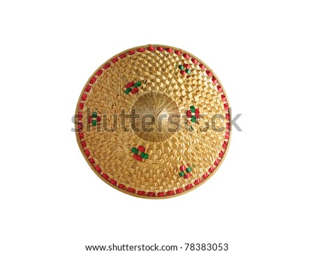 bamboo hat isolated ,Hats made of bamboo leaves at thailand - stock photo