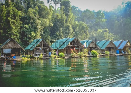 bamboo house Resort in Ratchaprapha Dam at Khao Sok National Park, Surat Thani Province, Thailand.