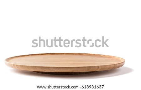 bamboo lazy susan on a white background side view